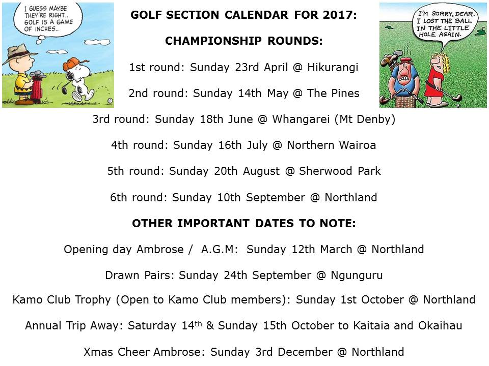 GOLF SECTION CALENDAR FOR 2017