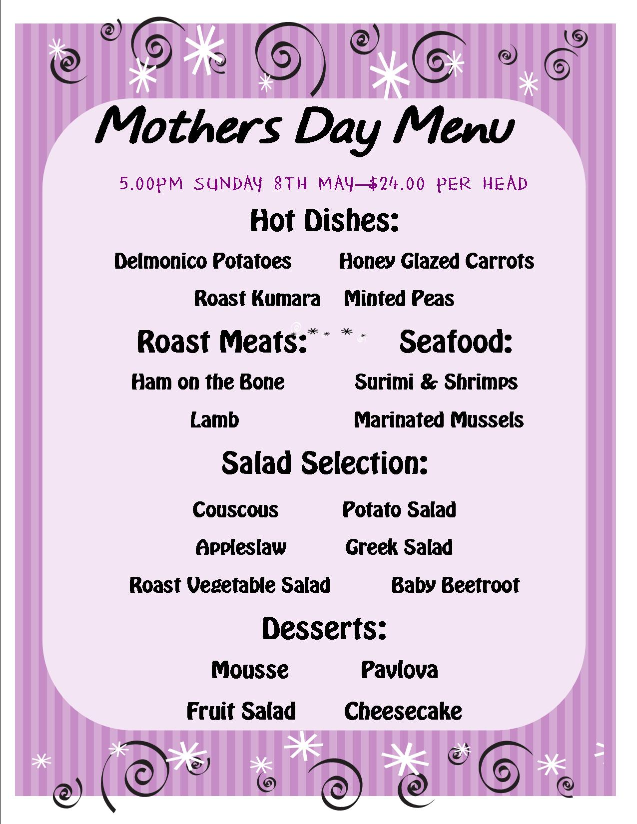 Mothers Day Menu 2016